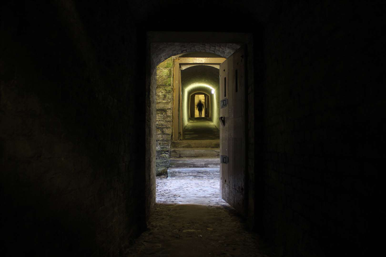 Dover Castle's medieval tunnels can feel unnerving if down there alone. Pic: Joe Wright