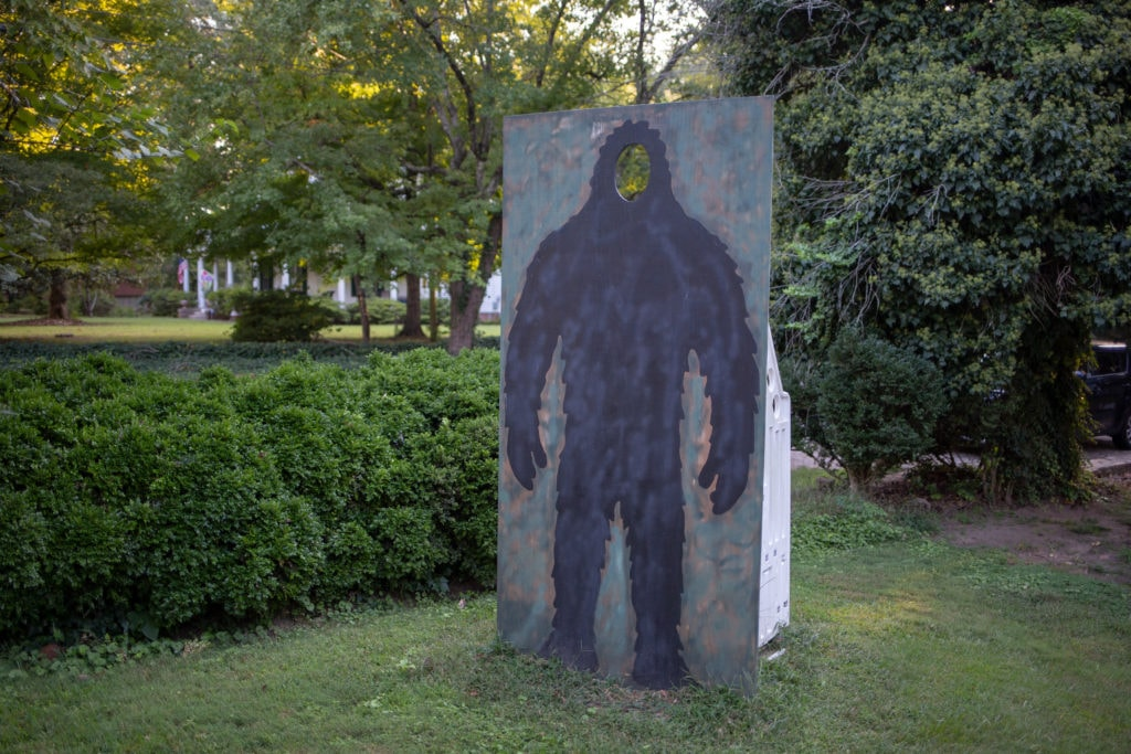 A Bigfoot cutout in Barcelo's front yard