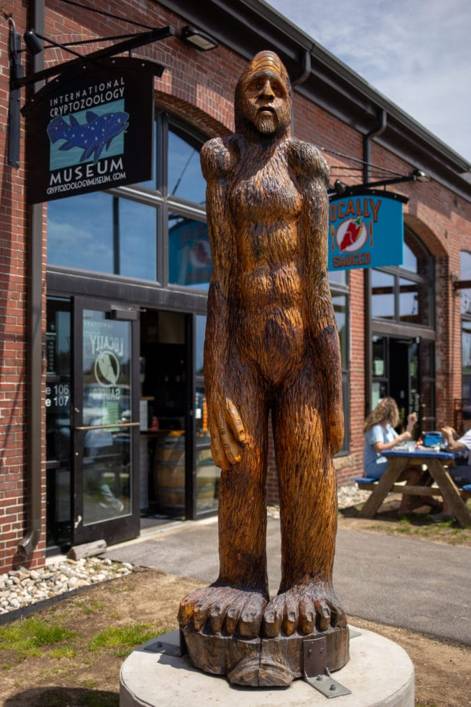 bigfoot statue outside of the cryptozoology museum