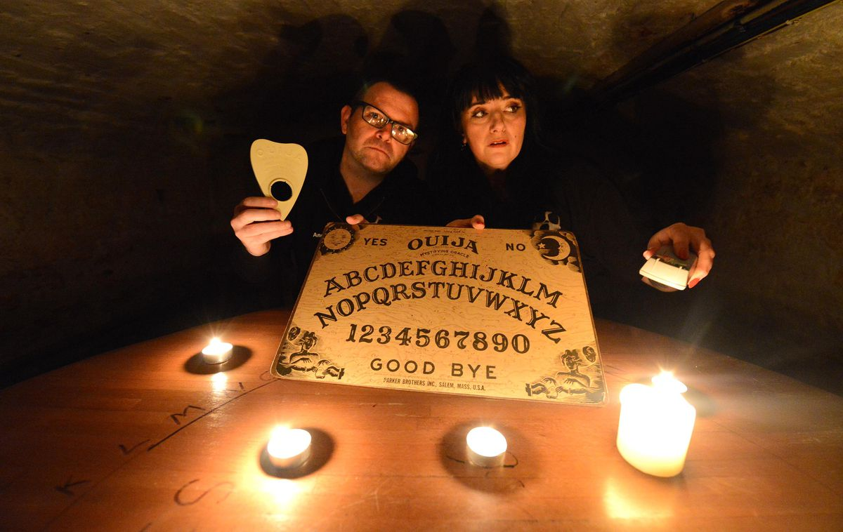 Andy Fillingham and Kym Walters get ready for their ghost hunt at the Four Crosses Inn, Watling Street, Cannock