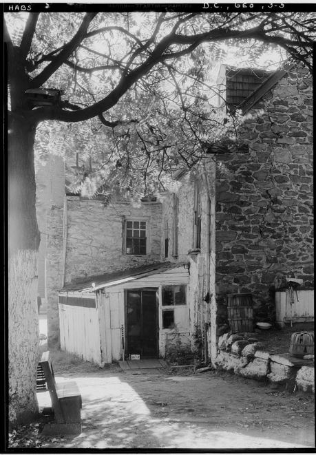The white wood attached structure shown in this Library of Congress photo is no longer part of Old Stone House. (Courtesy Library of Congress)