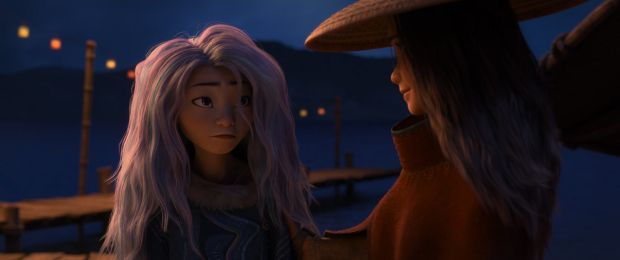 Sisu takes on a human form in the film (left) and learns the ways Kumandra has changed as she and Raya team up to save the world from the destructive Drunn. Photograph: Disney 2020