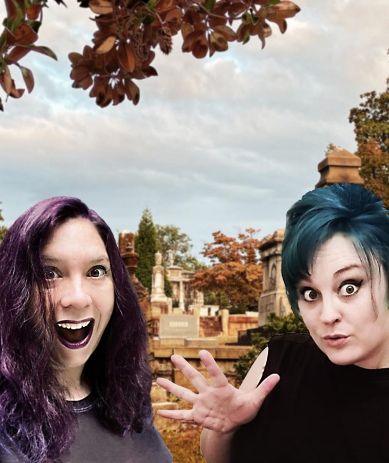 Becky+Kilimnik+and+Diana+Doty+stand+in+front+of+a+cemetery+background.+Kilimnik%2C+with+purple+hair%2C+is+on+the+left+and+Doty%2C+with+blue+hair%2C+is+on+the+right.