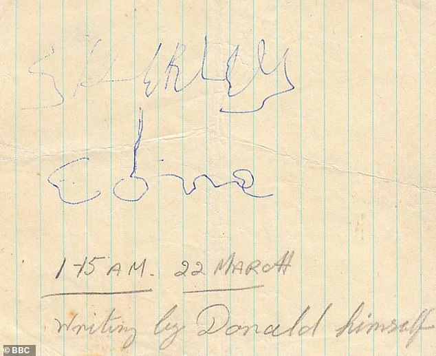 A note from the beyond? A handwritten message found in a notebook reading 'Shirley, I come'