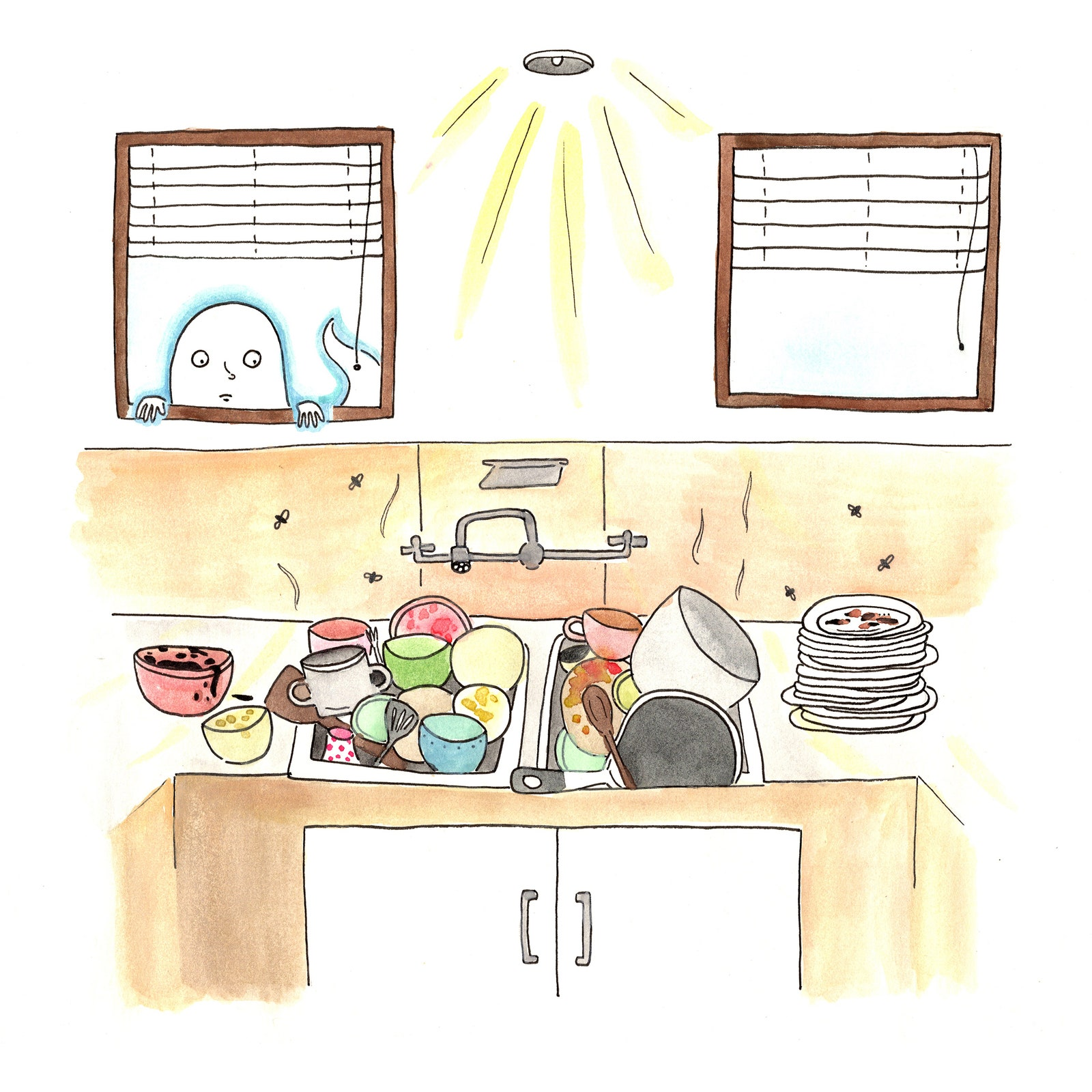 A ghost looking into a window at a pile of dishes.