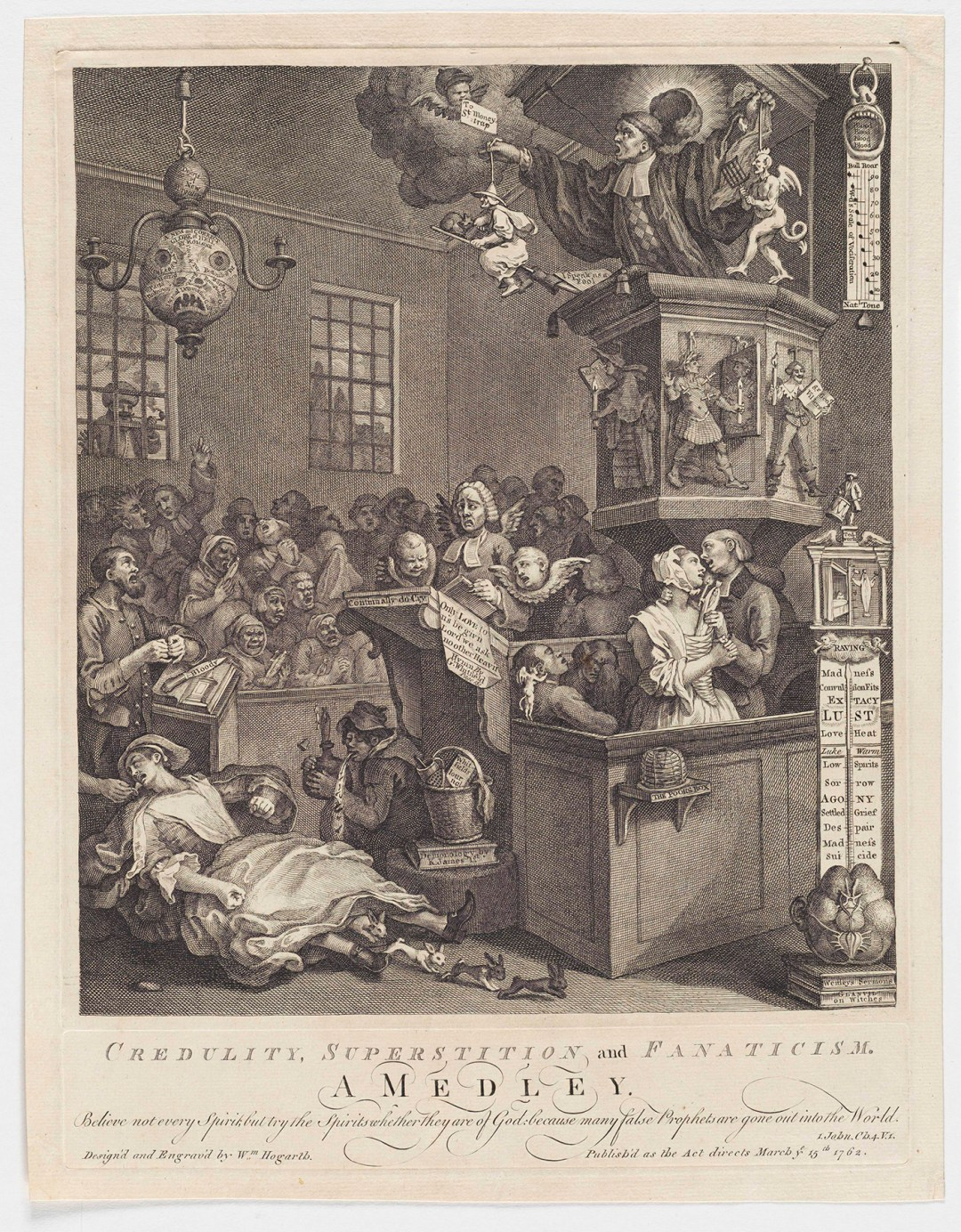 """William Hogarth, """"Credulity, Superstition and Fanaticism: A Medley"""" (1762), etching and engraving (courtesy the Lewis Walpole Library, Yale University)"""