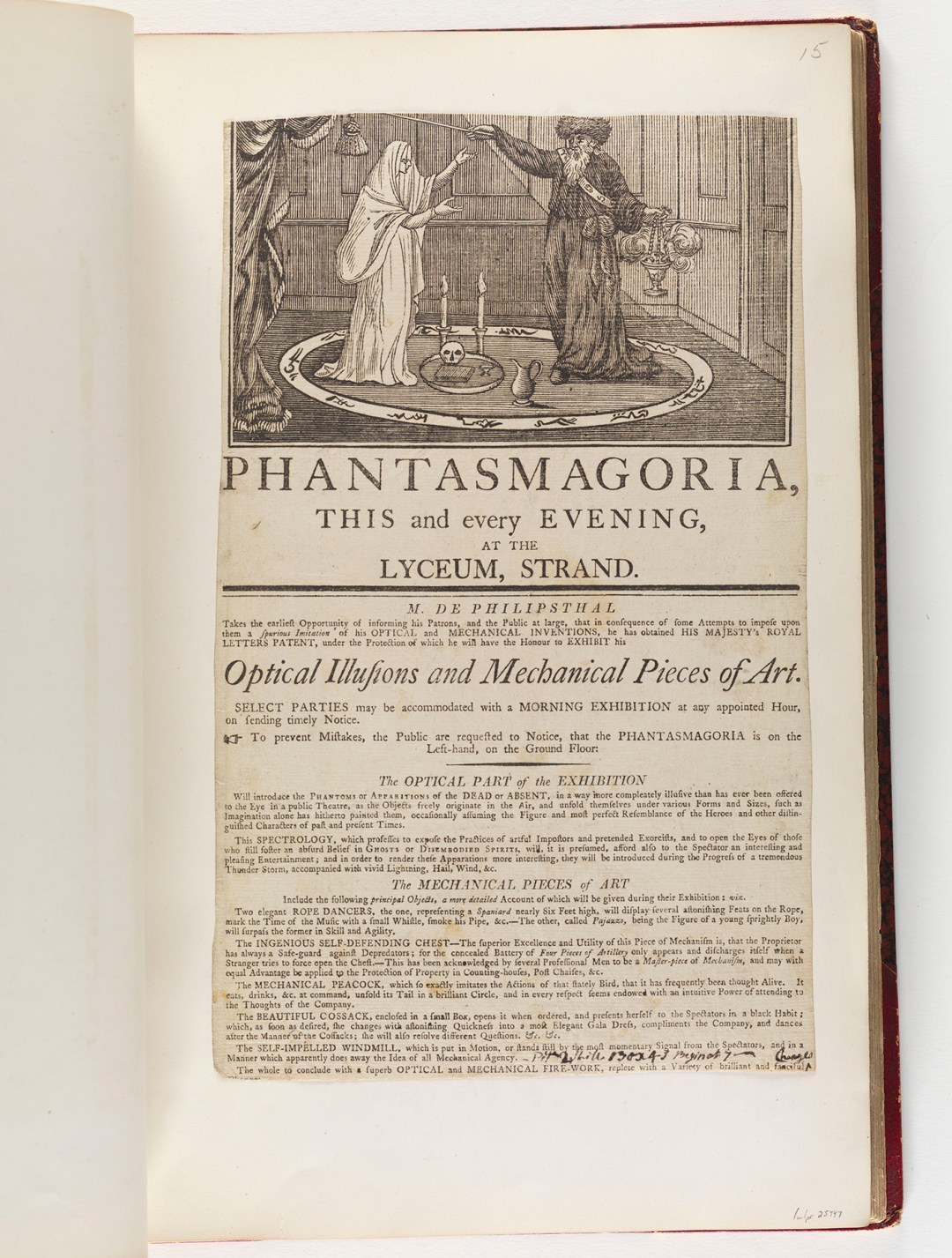 """Playbill advertising Paul de Philipsthal's """"Phantasmagoria"""" show at the Lyceum Theatre in the Strand, London (1801), woodcut and letterpress (courtesy the Lewis Walpole Library, Yale University)"""