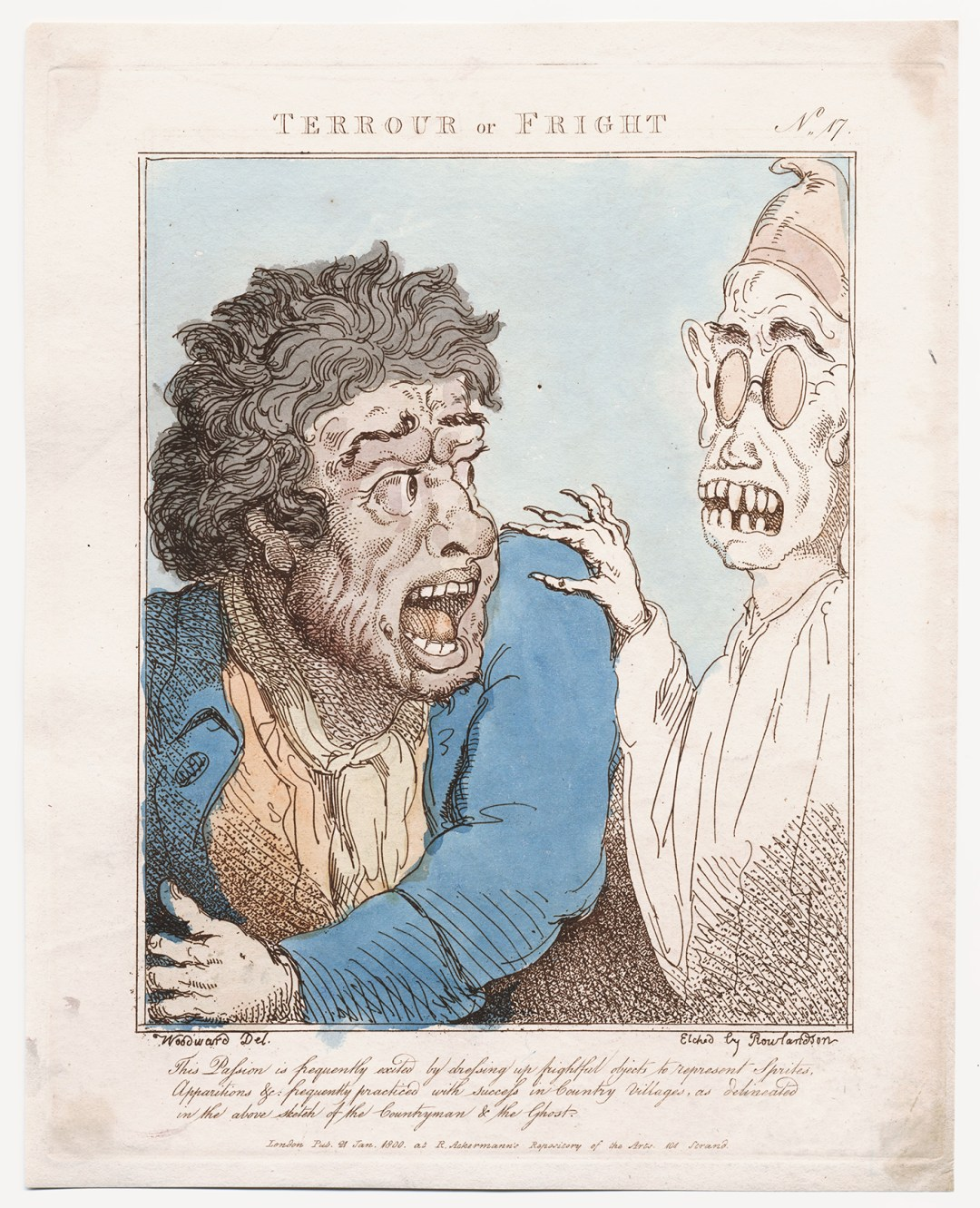 """Thomas Rowlandson, after G.M. Woodward, """"Terrour or Fright"""" (1800), hand-colored etching (courtesy the Lewis Walpole Library, Yale University)"""