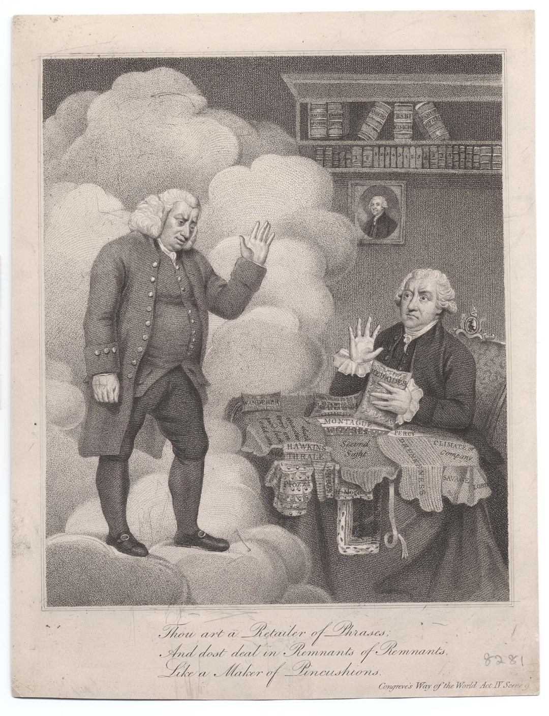 """Anonymous, """"Boswell and the Ghost of Samuel Johnson"""" (1803), stipple engraving with etching (courtesy the Lewis Walpole Library, Yale University)"""